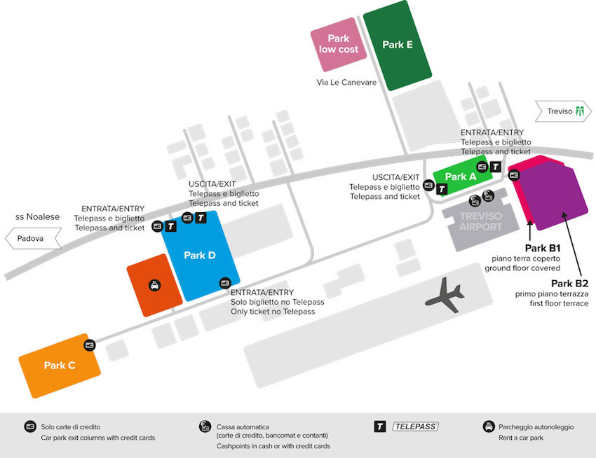 treviso airport car parks map tsf antonio canova rental cars